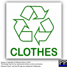 1 x Clothes-Sticker-Recycle Logo Sign,Recycling,Recycle,Bin,Top,Trousers,Jacket